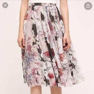Anthropologie Varun Bahl Flowy Floral Midi Skirt